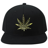 SM057 Marijuana Snapback (Solid Black) - Rhinestone Metal