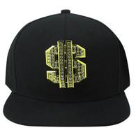 SM057 Dollar Snapback (Solid Black) - Rhinestone Metal