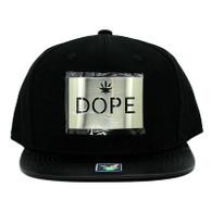 SM045 Dope Marijuana Snapback (Solid Black) - Silver Metal