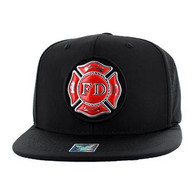 SM062 Fire Dept Velcro Snapback Cap (Solid Black)