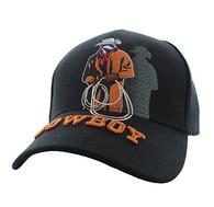 VM194 Wild Western Cowboy Velcro Cap (Solid Black)