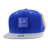 SM061 Los Angeles Snapback Cap (Royal & Grey)