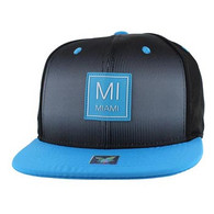 SM061 Miami City Snapback (Black & Aqua)