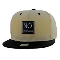 SM061 New Orleans Cotton Snapback Cap Hat (Khaki & Black)