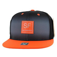 SM061 San Francisco Snapback Trucker Mesh Cap (Black & Orange)
