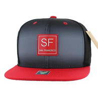 SM061 San Francisco Snapback Trucker Mesh Cap (Black & Red)