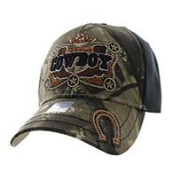 VM502 Cowboy Velcro Cap (Hunting Camo & Black)