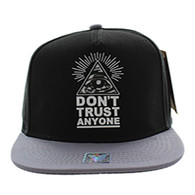 SM914 Don't Trust Anyone Snapback Cap Hat (Black & Grey)