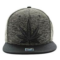 SM616 Marijuana Snapback Cap (Heather Grey & Black) - Black Stitch