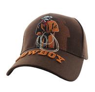 VM194 Wild Western Cowboy Velcro Cap (Solid Brown)
