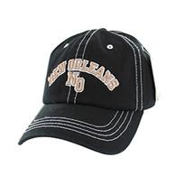 BM001 New Orleans Washed Cotton Cap (Solid Black)