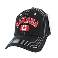 BM001 Canada Washed Cotton Cap (Solid Black)