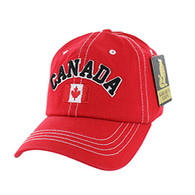 BM001 Canada Washed Cotton Cap (Solid Red)