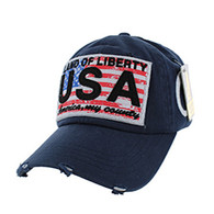 BM001 USA Flag Washed Cotton Cap (Solid Navy)