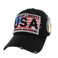 BM001 USA Flag Washed Cotton Cap (Solid Black)