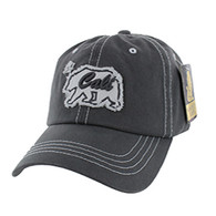 BM001 Cali Bear Washed Cotton Cap (Solid Charcoal)