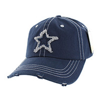 BM001 Big Star Washed Cotton Cap (Solid Navy)