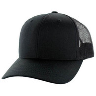 SP003 Blank Cotton Classic Mesh Trucker Cap (Black & Black)