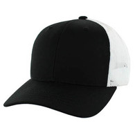SP003 Blank Cotton Classic Mesh Trucker Cap (Black & White)