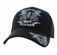 VM271 Ride to Freedom, Born to Ride Velcro Cap (Solid Black)
