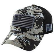 VM9001 USA Flag Soft Mesh Cap (Black Digital Camo)