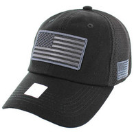 VM9001 USA Flag Soft Mesh Cap (Solid Black)