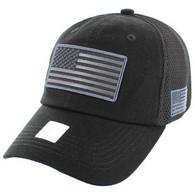 VM9001 USA Flag Soft Mesh Cap (Solid Black)