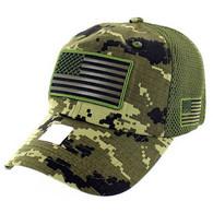 VM9001 USA Flag Soft Mesh Cap (Forest Digital Camo)