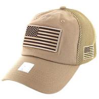VM9001 USA Flag Soft Mesh Cap (Solid Khaki)