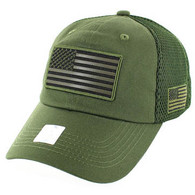VM9001 USA Flag Soft Mesh Cap (Solid Olive)