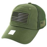 VM9001 USA Flag Soft Mesh Cap (Solid Olive)