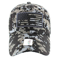 VM9002 USA Flag Washed Cotton Cap (Solid Black Digital Camo)