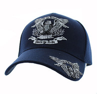 VM271 Ride to Freedom, Born to Ride Velcro Cap (Solid Navy)