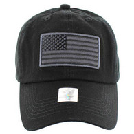 VM9002 USA Flag Washed Cotton Cap (Solid Black)