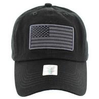 VM9002 USA Flag Washed Cotton Cap (Solid Black)