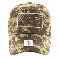 VM9002 USA Flag Washed Cotton Cap (Solid Desert Camo)