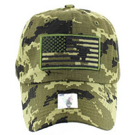 VM9002 USA Flag Washed Cotton Cap (Solid Forest Desert Camo)