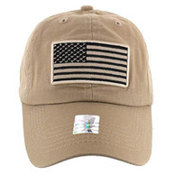 VM9002 USA Flag Washed Cotton Cap (Solid Khaki)