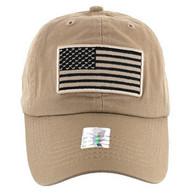 VM9002 USA Flag Washed Cotton Cap (Solid Khaki)
