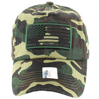 VM9002 USA Flag Washed Cotton Cap (Solid Military Camo)