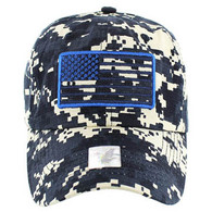 VM9002 USA Flag Washed Cotton Cap (Solid Navy Digital Camo)