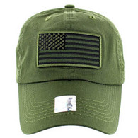 VM9002 USA Flag Washed Cotton Cap (Solid Olive)