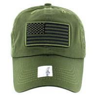 VM9002 USA Flag Washed Cotton Cap (Solid Olive)