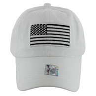 VM9002 USA Flag Washed Cotton Cap (Solid White)