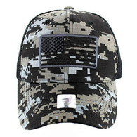 VM9003 USA Flag Mesh Trucker Cap (Black Digital Camo)