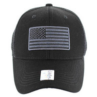 VM9003 USA Flag Mesh Trucker Cap (Solid Black)