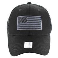 VM9003 USA Flag Mesh Trucker Cap (Solid Black)