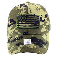 VM9003 USA Flag Mesh Trucker Cap (Forest Digital Camo)