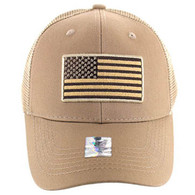 VM9003 USA Flag Mesh Trucker Cap (Solid Khaki)