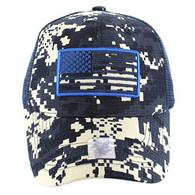 VM9003 USA Flag Mesh Trucker Cap (Navy Digital Camo)